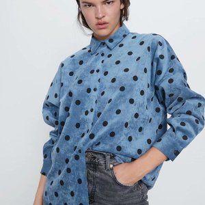 Zara Polka Dot Corduroy Button Up Shirt Blue XS